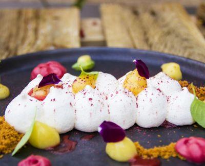 Photo menu Poisson du jour, fenouil, pamplemousse rose, verveine, shiso et jus de concombre smith